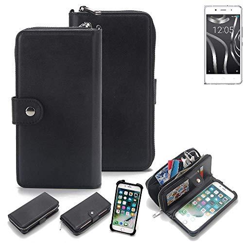 K-S-Trade® 2in1 Handyhülle Für BQ Readers Aquaris X5 Plus Schutzhülle und Portemonnee Schutzhülle Tasche Handytasche Case Etui Geldbörse Wallet Bookstyle Hülle Schwarz (1x)