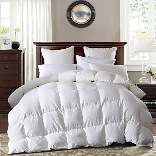 SNOWMAN Luxury All Season Goose Down Comforter Full/Queen Size Duvet Insert, 55 oz Eruopean Poland Goose Down Fill Weight -1200 Thread Count,100% Natural Cotton, Hypo-allergenic, White Color