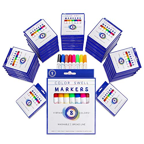 Color Swell Washable Markers Bulk Pack 36 Sets 8 Count Vibrant Colors 288 Total Perfect Bulk Pack for Teachers, Kids and Classrooms