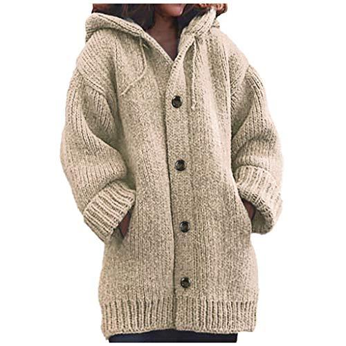 Lulupi, cardigan da donna, autunno/inverno, lavorato a maglia, con cappuccio, scollo a V, maniche lunghe, maglione con cappuccio Khaki-02 XXL