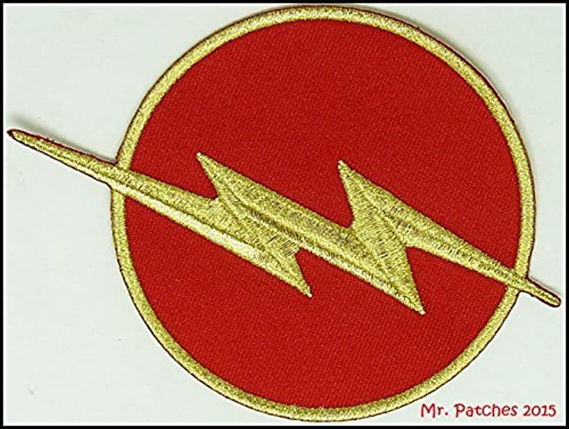 THE FLASH Red & Gold Chest Emblem RED Halloween TV Show DC Comics Costume Jacket Shirt Hat Cap Embroidered Patch Easy Iron On
