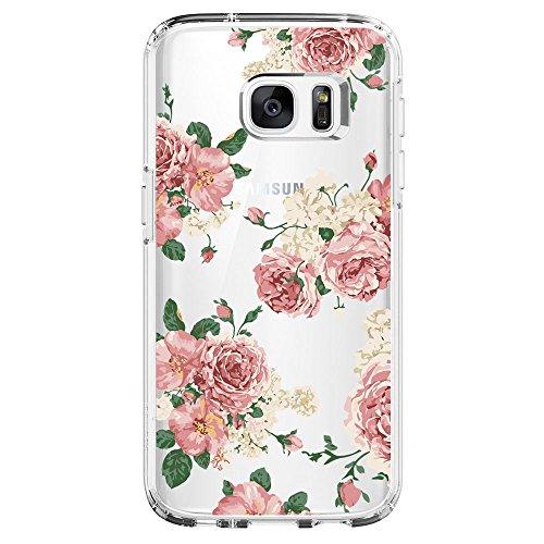 Kompatibel mit Samsung Galaxy S6 Hülle,Galaxy S6 Edge Schutzhülle Silikon Silikonhülle Transparent TPU Bumper Schutz Handytasche Handyhülle Schale Case Cover für S6 Edge (Blume1, Galaxy S6 Edge)