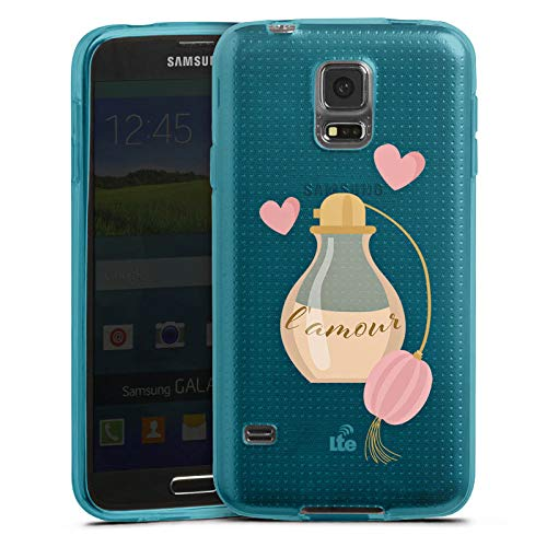 DeinDesign Silikon Hülle transparent hellblau kompatibel mit Samsung Galaxy S5 Neo Case Schutzhülle Parfuem Parfum L'Amour