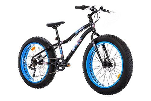 Bicicleta Fat Bike 24'' marco de aluminio – Frenos dobles equipados con 6 velocidades – Cambio Shimano TY21 y mango Shimano RS35