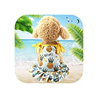 綿ペット服かわいいフルーツ柄ドレスTシャツ愛好家スーツ小中猫犬服犬のスカート-pineapple dress-S