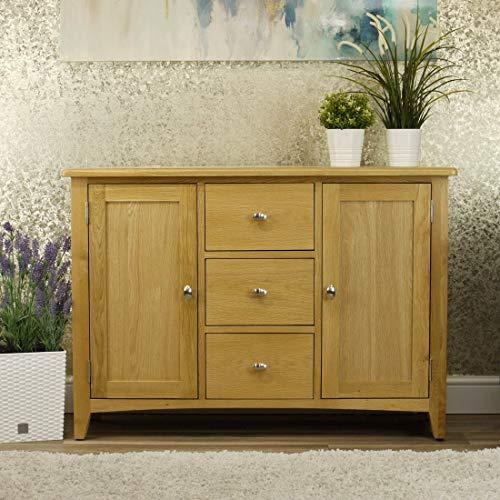Oakland Modern Oak Sideboard | Large 2 Door 3 Drawer Cabinet | Light Wood Tone