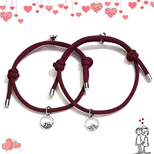 Handgewebtes Paar Seil Armband,Paararmband,Liebhaber Geschenke,Armbänder für Paare,Magnetische Paar-Armbänder,Armband für Männer Frauen Paare,Freundschaftsarmband für Liebhaber,Paar Seil Armband