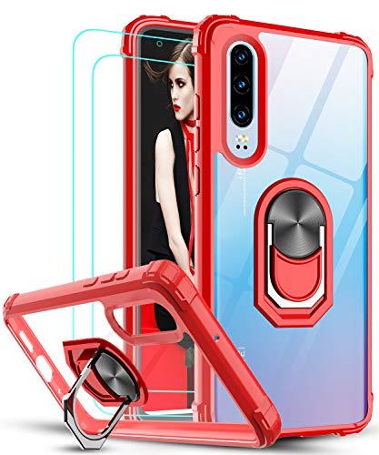 LeYi Funda Huawei P30 con [2-Unidades] Cristal Vidrio Templado,Transparente Carcasa con 360 Grados iman Soporte Silicona Bumper Antigolpes Armor Case para Movil P30,Clear Rojo