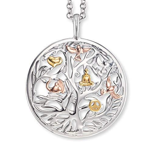 Engelsrufer - Damen Silber Kette Tricolor mit Lebensbaum Anhänger, filigrane Halskette aus 925 Sterlingsilber mit echtsilber Kettenanhänger, Baum des Lebens Silberanhänger