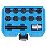 beley 12pcs wheel lock lug nuts removal set for mercedes benz, automotive wheel anti-theft lug nuts