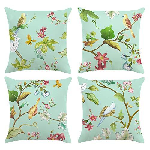 Bonhause Juego de 4 Funda de Cojín 45x45cm Primavera Pájaros con Flores Verde Azulado Terciopelo Suave Fundas de Almohada para Cojines Decorativos para Exterior Sofá Cama Coche Hogar