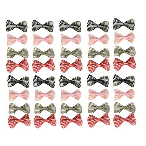 Healifty 40pcs Mini artesanía Arcos de Lino Lazos para el Cabello Adornos de Arcos de árbol de Navidad para Manualidades