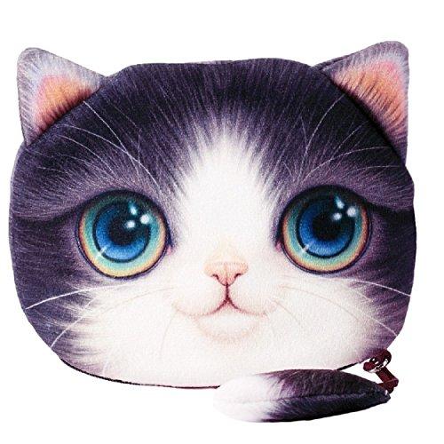 Flauschiger Geldbeutel Münzbörse Make-up- und Kosmetiktasche für junge Frauen und Mädchen Süßes Katzenmotiv Animal Print Katzenohren und Schwänzchen Reißverschluss (Violett-Weiß)