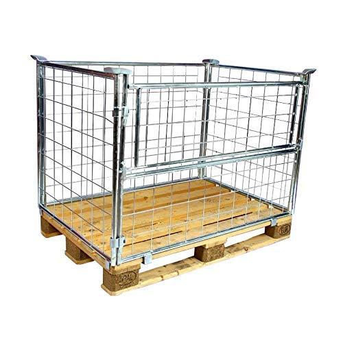 E.S.B. 5er Set Gitteraufsatzrahmen 1200x800x1000 mm galvanisch blau verzinkt für Euro-Paletten – klappbare & Gitterbox mit 1000 mm Nutzhöhe für DIN-Paletten – für Industrie & Garten & Brennholz