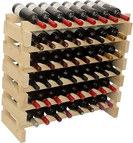 DisplayGifts Modular Stackable Storage Wine Rack Freestanding Wooden Wine Holder Thick Wood 8 x 6 Rows Unstained