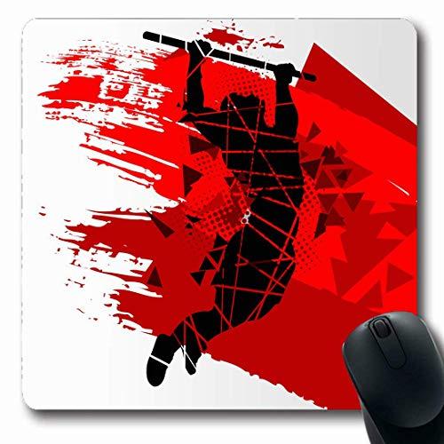 Luancrop Alfombrillas para computadoras Atleta Body Do Gimnasia Deporte Snatch Recreación Muscular Competición atlética Ejercicio Diseño Antideslizante Oblong Gaming Mouse Pad