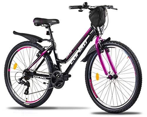 Corelli Luna Mountainbike mit Aluminium-Rahmen, V-Brake, Shimano 21 Gang-Schaltung als Damen-Fahrrad, Mädchen-Fahrrad, Kinder-Fahrrad in schwarz/Lipstick