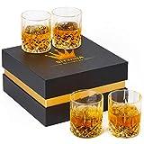 Whiskyglas Cocktailgläser alte Whiskygläser Bourbongläser Felsengläser Dicker Boden Whiskygläser(4 Stück 300ml) Whiskey Glas zum Verschenken