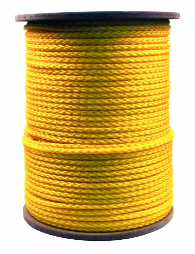 Rope King HBP-381000Y Hollow Braided Poly Rope - Yellow - 3/8 inch x 1,000 feet