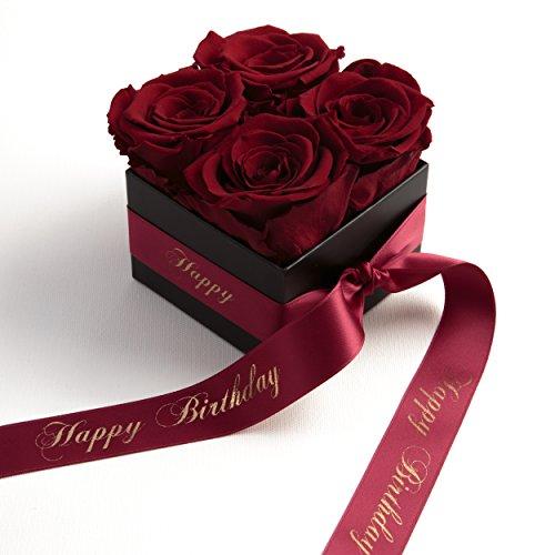 Flowerbox Happy Birthday - Rosenbox mit infinity Rosen haltbar 3 Jahre - Geburtstagsgeschenk für Frauen (Happy Birthday, Dunkelrot)