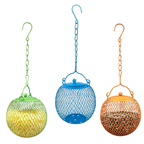 Set of 3 Bird Feeder Seed Ball Sunflower Feeder Squirrel Proof Bird Feeders for Outside,Set of 3 Green,Blue,Orang