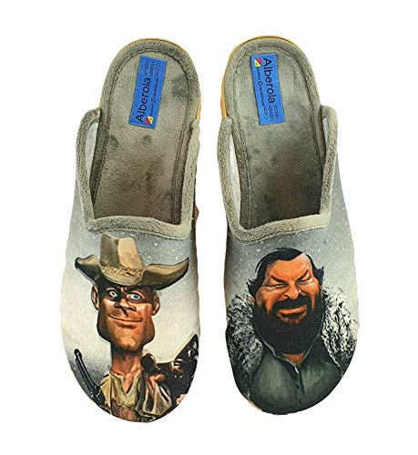 ALBEROLA Hausschuh/Pantoffel HELLE Sohle AC9171A Terence Hill & Bud Spencer (Numeric_42)