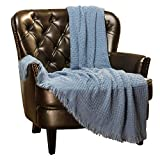 Chanasya Textured Waffle Acrylic Throw Blanket with Tassels - Lightweight and Super Soft Modern Woven Blanket for Couch, Home, Living Room, and Bedroom Décor(50x65 Inches) Blanket