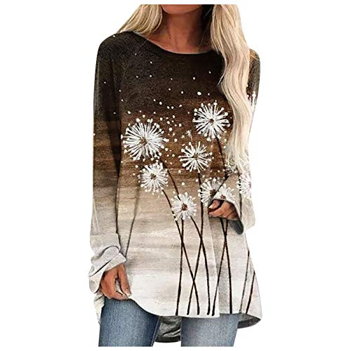 Tunics for Women, Women's Long Sleeve Tunic Tops Round Neck Dandelion Printed T Shirts Casual Blouses for Leggings Coffee