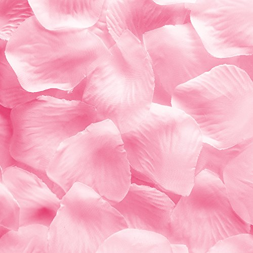Silk Fabric Flower Mini Rose Petals for Weddings (1000 Pieces) (Pink)
