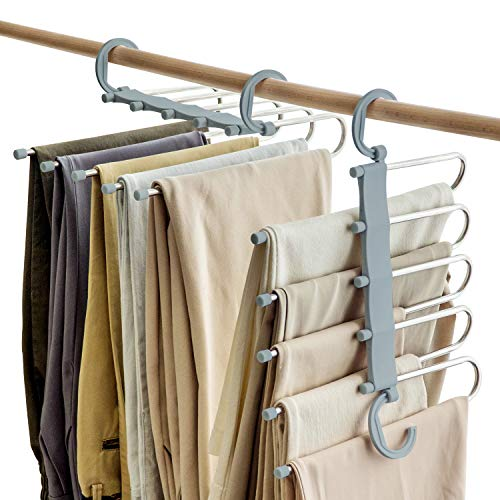 SOSOPIN Space Saving Pants Hangers Non-Slip Clothes Organizer 5 Layered Pants Rack for Scarf Jeans Trousers(Grey, 2 Pcs)
