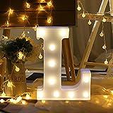 Igemy Alphabet Buchstaben Lichter LED leuchten weiße Kunststoff Buchstaben stehend hängen A-Z (L)