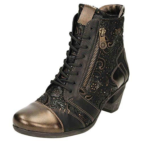 Remonte Damen D8794 Mode-Stiefel, Antik/Schwarz/Schwarz/Schwarz-Gold/ 02