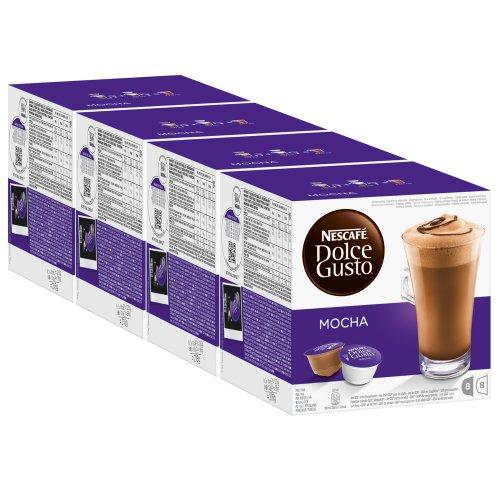 Nescafé Dolce Gusto Mocha, Mokka, Schokolade, Kaffee, Kaffeekapsel, 4er Pack, 4 x 16 Kapseln (32 Portionen)