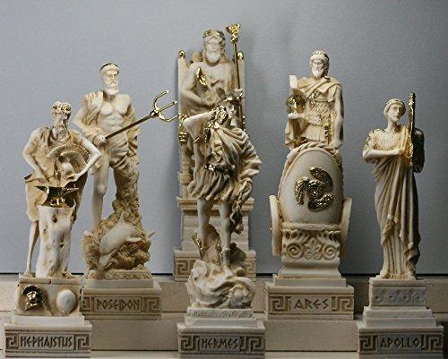 6 griechische Götter Zeus Poseidon Apollo Hermes Hephaestus Ares Statue Skulptur