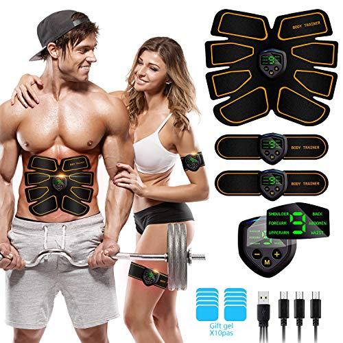 Elettrostimolatore Muscolare, EMS Suscolo Addominale, Addominali Attrezzi ABS,Addome/Braccio/Gambe/Waist/Glutei Massaggi-Attrezzi, USB Ricaricabile-Uomo/Donna