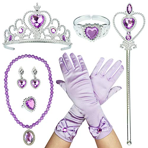 Princess Dress Up Accessories Party Accessories for Princess Costume Tiara Wand Gloves Necklace Earrings Bracelet and Ring Gift Set 9PCS (Purple)