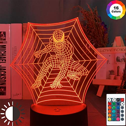 Marvel Spider Superheld Figur In Cobweb Nachtlicht 3D LED Tischlampe Kinder Geburtstagsgeschenk Nachtzimmer Dekoration