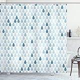 ABAKUHAUS Blau & Weiß Duschvorhang, Regentropfen Weiß Navy, Wasser Blickdicht inkl.12 Ringe Langhaltig Bakterie & Schimmel Resistent, 175 x 200 cm, Hellblau