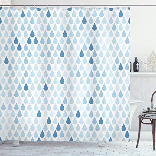 ABAKUHAUS Blau & Weiß Duschvorhang, Regentropfen Weiß Navy, Wasser Blickdicht inkl.12 Ringe Langhaltig Bakterie & Schimmel Resistent, 175 x 180 cm, Hellblau