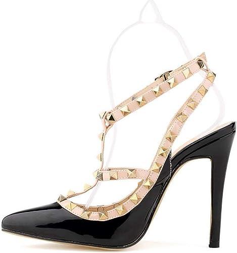 Oudan Platform Sandals pour Femme, Talons Hauts, Pantoufle, Boucle Boucle de la Mode Estivale, Sandales à Talons, Violettes, 39 (Couleuré   Noir, Taille   42)