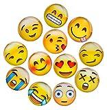 Lesfit Aimant Emoji, 12 Pièce 3D Verre Smiley Aimant Réfrigérateur à Forte Adhérence pour Décorer Frigos, Tableau Blanc,...