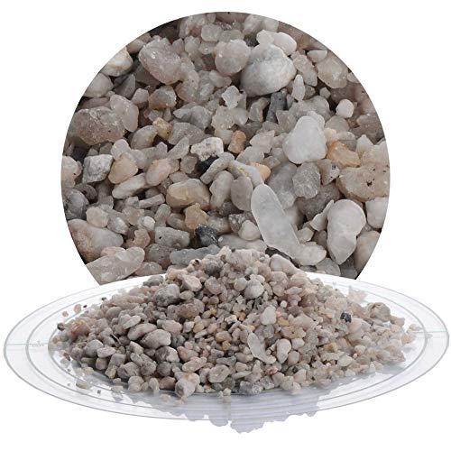 Schicker Mineral Quarz Zierkies 25 kg Grauer Kies natürlich gerundet in den Größen 2-8 mm und 4-8 mm, ideal zur Gartengestaltung (Quarz Zierkies, 2-8 mm)