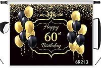新しいハッピー60歳の誕生日の背景7x5ftファブリックブラックとゴールドのバルーンキラキラ背景カスタマイズされたBithdayパーティーバナーポートレート写真ブース背景小道具洗える