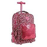 J World New York Kids' Sparkle Rolling Backpack, Pink Floret, One Size