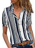 HOTAPEI Womens White Work Blouses Ladies Summer Casual V Neck Striped Short Sleeve Button Down Collar Chiffon Shirts Size Medium