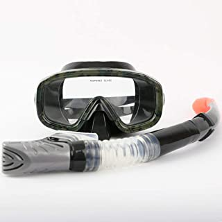 XY Swimming Goggles - Snorkeling Sambo Equipment Goggles Full Dry Snorkel Set Adult Swimming mask Mirror Water Sports Glasses (Color : A)
