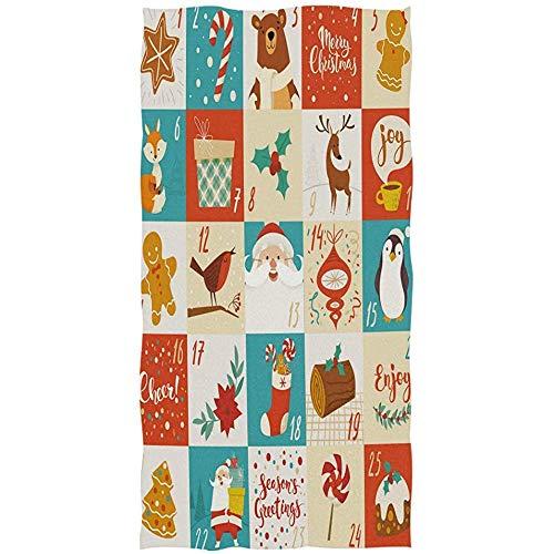 Candi-Shop Toalla De Mano Pingüino De Navidad Oso De Santa Ciervo Animal Toallas Absorbentes Ultra Suaves Toallas De Baño Decorativas Grandes