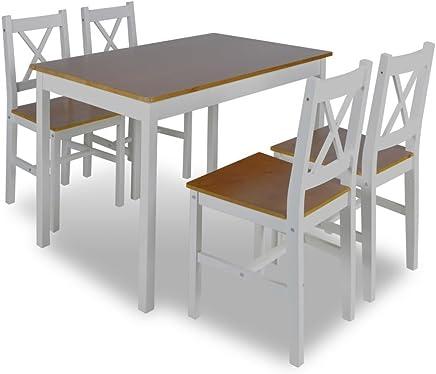 VidaXL Ensemble Table Bois 4 Chaises Couleur Marron Salle A Manger Cuisine