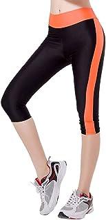 MINXINWY Mallas de Mujer, Leggins de Mujer Cortos de Verano Leggings de chándal elásticos de Cintura Alta Pantalon Bolsillo Lateral Pantalones de Aerobic Color Liso Mujer