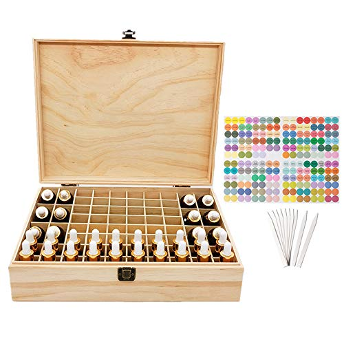 Pure Vie Essential Oil Wooden Storage Box Travel Display Presentation, Holds 56 Bottles & 12 Roller Balls - Aromatherapy Organizer Nail Polish Fragrance Container - Keep Your Oils Safe & Space Saver